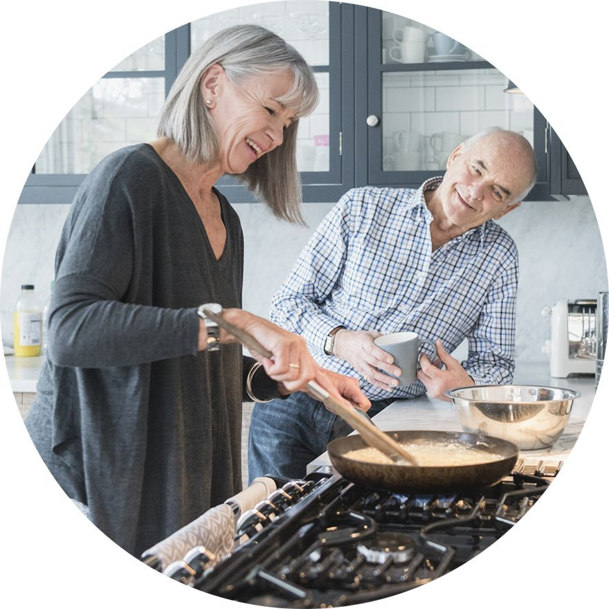Pension options explained - couple cooking