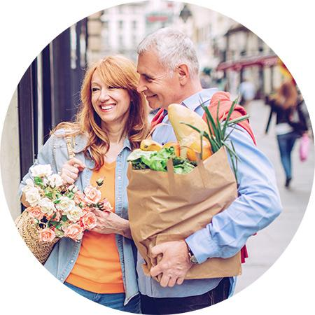 Pension Income Drawdown - Couple Shopping after withdrawing from their pension